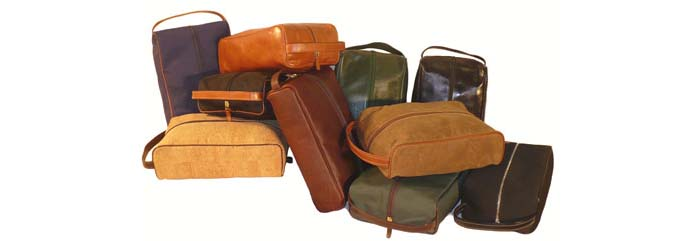 Assortment of rich grain leather, cork, suede and, ballistic nylon shoe bags